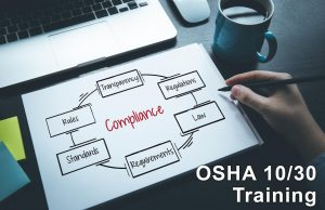 OSHA 10 and 30 Training components - such as regulations, requirements, standards, and rules - listed in a circle around the word 'Compliance'